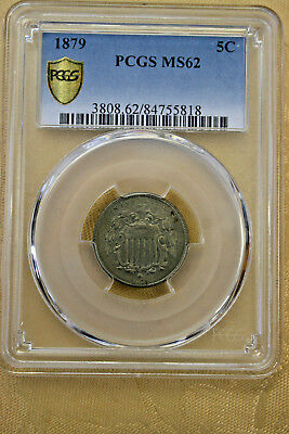 1879 5 Cent Shield Nickel PCGS MS62 Very Rare High Grade