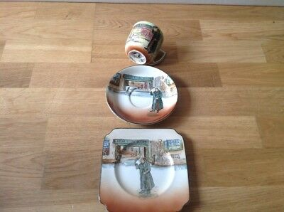 Royal Doulton Dickens Ware ( Mr Squeers ) 1 Tea Cup,1 Saucer,1 Side Plate Square