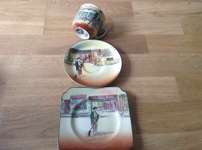 Royal Doulton Dickens Ware ( Poor Jo ) 1 Tea Cup, 1 Saucer, 1 Side Plate Square.