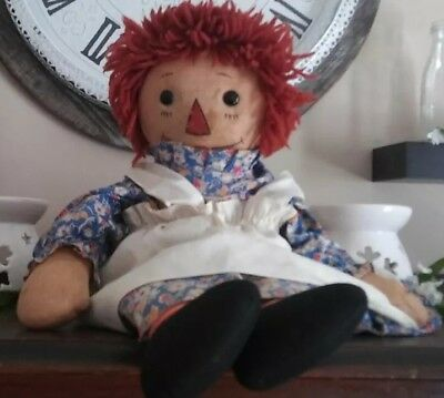 """Rare Georgene Raggedy Ann 1930s 1940s darling Black Oulined Nose 18"""" VGC!"""