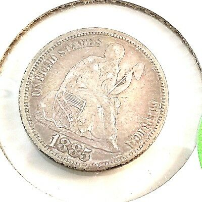 1885 Seated Liberty Silver Dime -Strong Details Vf
