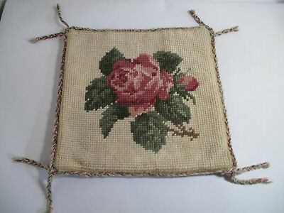 Vintage hand stitched Needlepoint  Tapestry cushion cover Rose Pattern