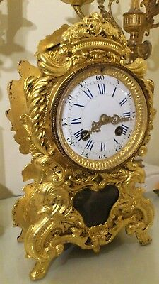 Antique French Boulle Style Gilt Brass Mantel / Bracket Clock.