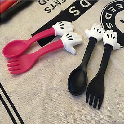 NEW Utensil Set Cartoon Mouse Kids Baby Eat Food Feeding Spoon Fork Cutlery LA