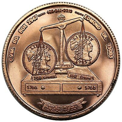 1995 CVM medal, weight standard change of 1795, S-76a vs. 76b, copper, BU