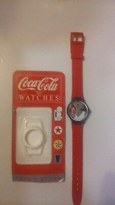 Ladies Coca Cola Swatch Watch...brand New Band..rare Crown Guard.