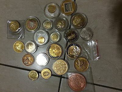 22pc world mix medal coins