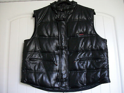 NEW Mens Black Leather MJX  M. Julian Puffer Size 2XL Down Vest  Jacket Quilted