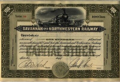 Savannah & Northwestern Railway Stock Certificate Georgia Olive