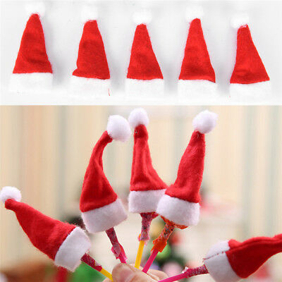 10 Pcs Mini Christmas Hat Christmas Sugar Cap Christmas Non-woven Hat JP