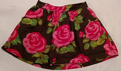 CHEROKEE Girl's Skirt Size M 7/8 Brown Floral Stretch Waist Lined