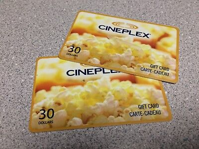 Two (2) $30 Cineplex Gift Cards - $60 Total