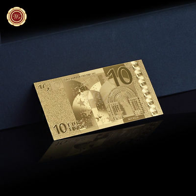 WR 24K 10 Euro Gold Foil Banknote Europe Holiday Collectible Gifts for Boyfriend