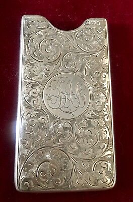 Antique Sterling Silver Calling Card Case Hand Chased  1900  Birmingham