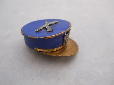 Vintage Antique Blue Enameled Military Cap Pill Box / Pin *Free Shipping*