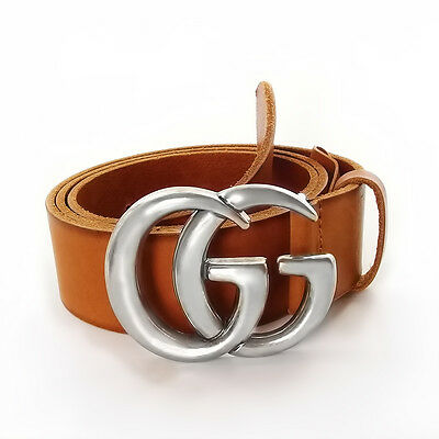 Authentic Brown Leather Gucci Belt w/Double G Buckle 406831-44 Size 90 / 36 -New