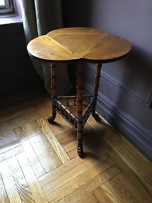 Antique Trefoil Bamboo Table, Three-Sided Drop Leaf, Paw Feet, Victorian C1900