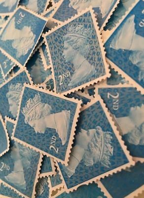 12 x 2nd Class UNFRANKED Stamps OFF PAPER NO GUM BUT READY TO USE