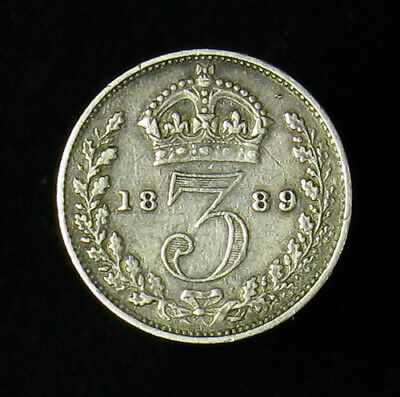 1889 Great Britain Three 3 Pence silver coin KM# 758