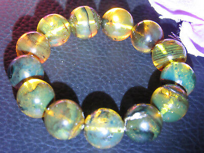 Dominican Amber Bracelet Blue-Green Bangle Beads about 15.3mm sphere(24.4g)#1057