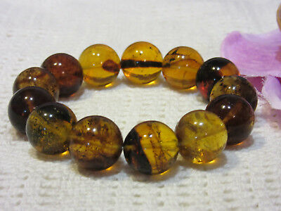 Dominican Amber Bracelet Blue-Green Bangle Beads about 15.9mm sphere(27.8g)#1058