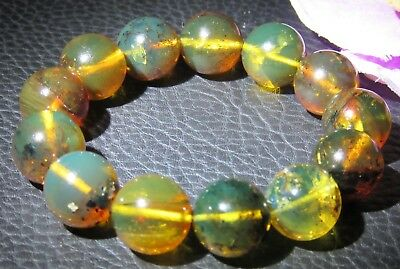Dominican Amber Bracelet Blue-Green Bangle Beads about 15.5mm sphere(25.9g)#1056