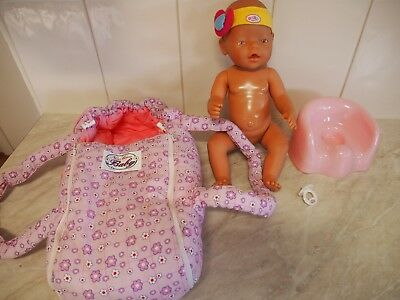Zapf Baby born doll, carrier, potty, dummy accessories - excellent condition