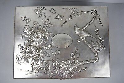 HEAVY 19TH C.CENTURY CHINESE SILVER 925 TUCK CHANG & CO FINE SCENES BOX 2.900gr