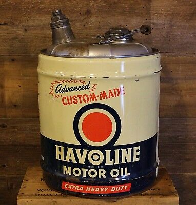 "Vintage 1954 HAVOLINE 5 Gallon Gas Service Station ""Advanced"" Oil can Texaco"