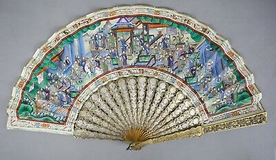 Fine Mid 19Th C.century Chinese Quality Silver Filigree Fan With Box