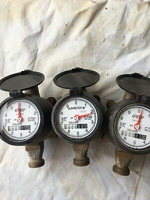 3 Elster Brass Water Meters Us Gallon
