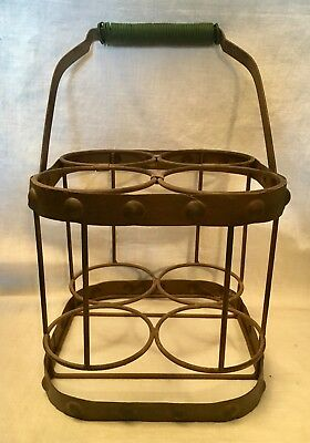 Antique Metal MILK BOTTLE CARRIER Dairy Delivery Green Ball Swing Handle