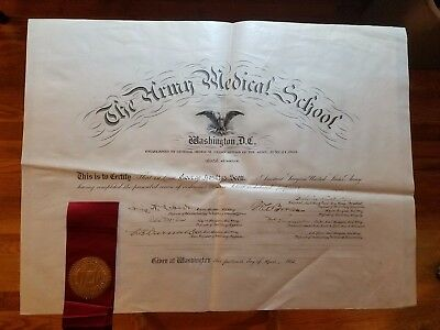 1903 Army Medical School DIPLOMA (6th session) SIGNED James Carroll YELLOW FEVER