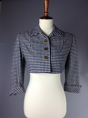 Vintage 1940's Cropped Navy Blue And White Gingham Jacket