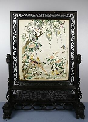 Fine 19Th C.century Chinese Emroidered Silk And Hongmu Vibrant Colors Screen