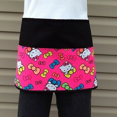 Black Hello Kitty server waitress Half Apron 3 pocket restaurant Classyaprons
