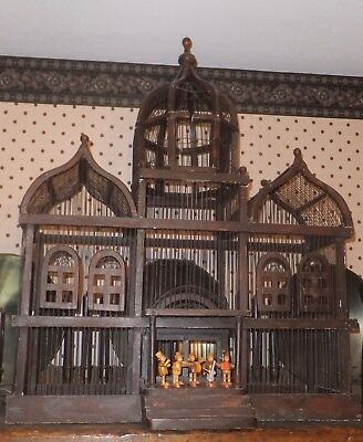 Grand Three Dome Towering Victorian Cathedral Wooden Bird Cage, Chicago P/U only