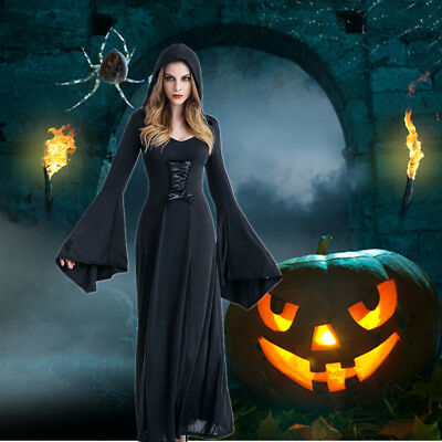 Ladies Halloween Fancy Dress Witches Medieval Womens Adults Costume Outfit Black