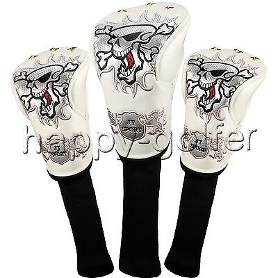 New 3Pcs/One Set White Golf Club HeadCovers Cover fit 460CC drivers Fairway Wood