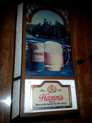 1970's Hamm's Sky Blue Water Scene With Bottle & Glass Lighted Beer Sign