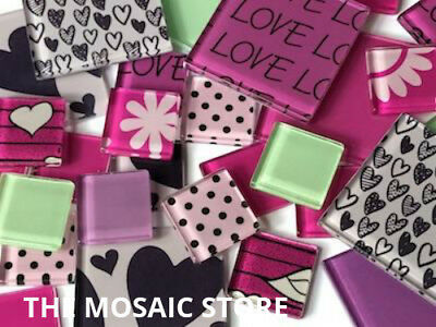 Love Themed Handmade Tile Set (Pink) - Mosaic Art Craft Supplies