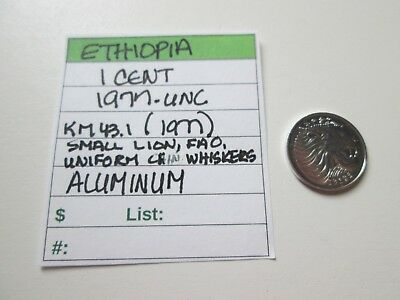 Single coin from ETHIOPIA, 1 cent, 1977, UNC, Km 43.1 (1977), FAO