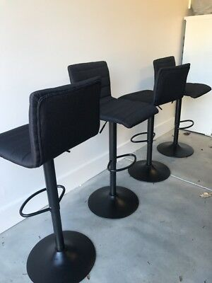 4X Bar Stools Linen Fabric Kitchen Cafe Barstool Chair Gas Lift Black 1168