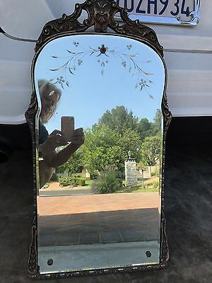 Beautiful Old Etched Mirror Large