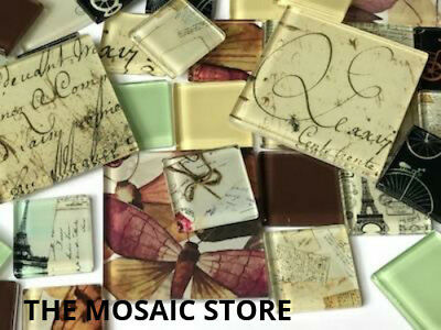 Vintage Themed Handmade Tile Set - Mosaic Art Craft Supplies