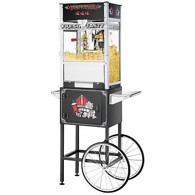Great Northern Black Commercial Quality Popcorn Popper Machine with Cart, 12oz