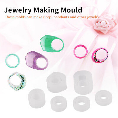 6x Resin Ring Mold Making Casting Jewelry Rings Moulds Hand Craft Tools Silicone