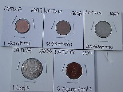 LATVIA   4 coin lot, 1922-2014, circulated, no dups, carded