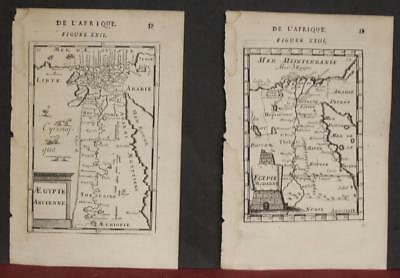 Egypt 1683 Manesson Mallet Set Of Two Antique Original Copper Engraved Maps