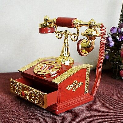 Creative Retro Plastic cement Handmade Carved Telephone Model Music Box BB211225